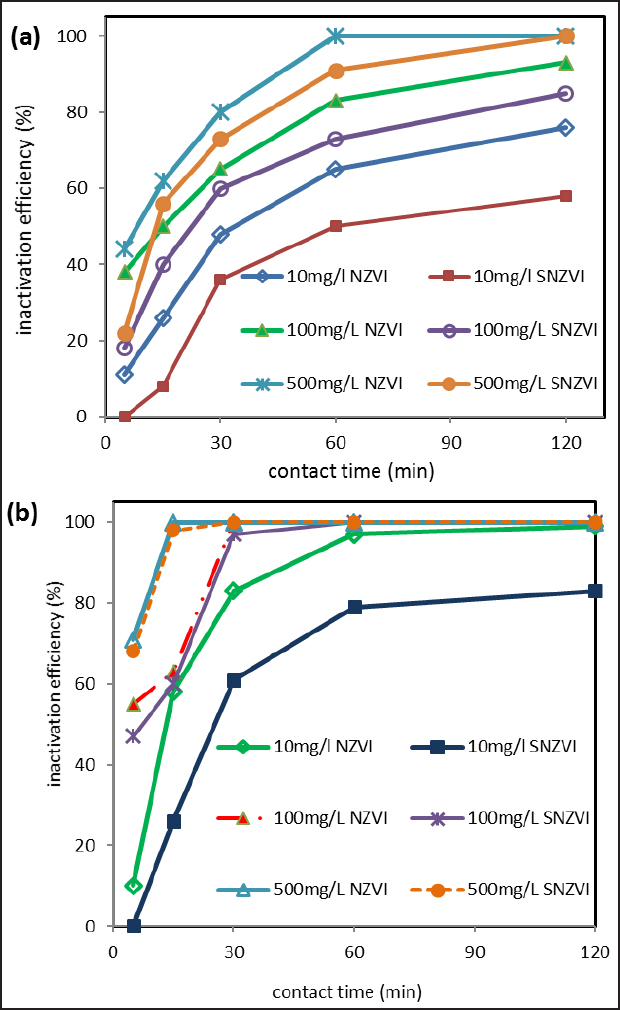 Figure 6: Comparison of inactivation efficiency of bare and stabilized-nano scale zero-valent iron under (a) aerobic and (b) anaerobic condition