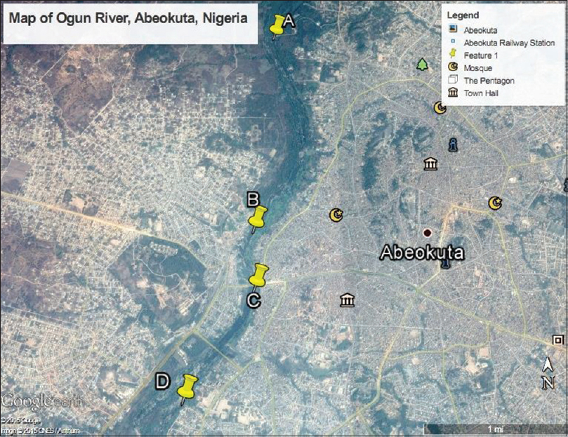 Figure 1: Map of River Ogun showing the Sampling Stations. Source: Google Earth